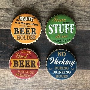 Set of 4 beer bottle cap coasters.